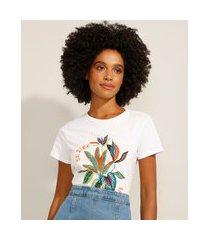 """camiseta de algodão be kind to all kinds"""" manga curta decote redondo off white"""""""