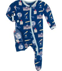 infant boy's kickee pants school print footie, size 18-24m - blue
