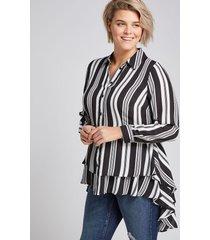 lane bryant women's button-front high-low peplum tunic 20 black and white stripe