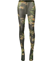 richard quinn daisy black floral-print tights - green