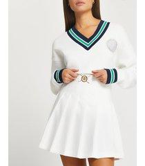 river island womens white pleated ri mini tennis skirt