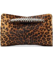 jimmy choo leopard-print venus clutch - brown