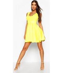 skater jurk met v-hals en geribbelde zoom, geel