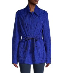st. john women's broken plaid jacket - blue - size m
