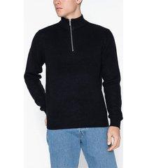 topman textured zip neck jumper tröjor navy blue