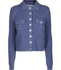 avio blue cotton blend jacket