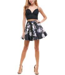 city studios juniors' 2-pc. glitter & floral-print fit & flare dress