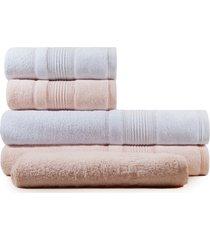 jogo de toalhas de banho 5 peças fio penteado appel splendore branca rosê