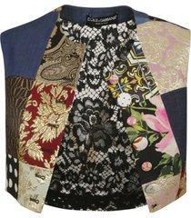 dolce & gabbana rear floral patchwork gilet