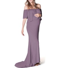 women's bun maternity simply stunning off the shoulder maternity maxi dress, size large/x-large - purple