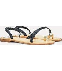 tommy hilfiger women's tommyxindya braided sandal dark denim - 9.5