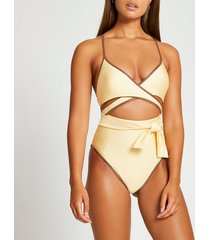 river island womens yellow wrap tie front cut out swimsuit