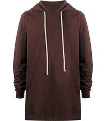 rick owens longline drawstring hoodie - brown
