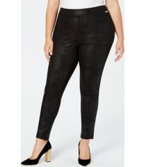 calvin klein plus size pull-on skinny embossed pants