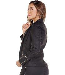 chaqueta efecto cuero negro taches