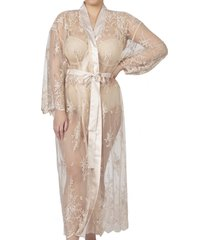 women's rya collection darling sheer lace robe, size x-small/small - ivory