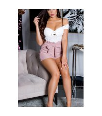 sexy hoge taille shorts met riem roze