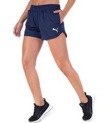 shorts puma active ess woven - feminino - azul escuro