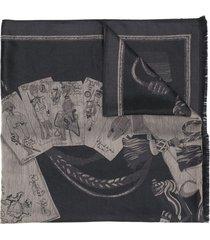 etro metallic embroidered scarf - black