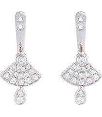 'art deco' diamond 18k white gold earring jackets