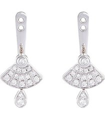 'art deco' diamond 18k white gold earring jackets