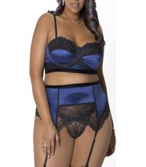 women's plus size bustier and garter with panty lingerie set