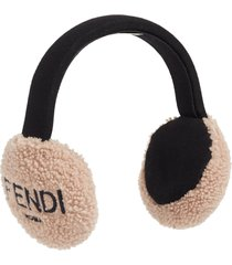 women's fendi genuine shearling earmuffs - pink