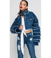 akira azalea wang frayed tier crop denim jacket