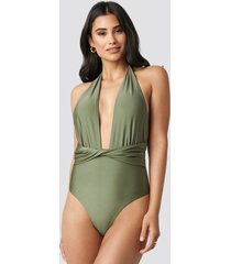 hannalicious x na-kd twisted swimsuit - green