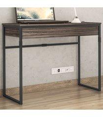 mesa escrivaninha brisa 1 gaveta amêndoa negra/preto - novabras