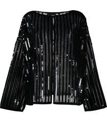 emporio armani sequin embroidered cardigan - black