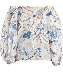 off shoulder white and blue floral blouse