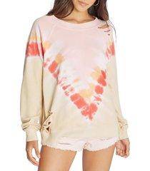 women's wildfox grapefruit distressed sommers sweatshirt, size x-small - orange