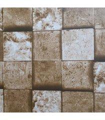 kit 2 rolos de papel de parede fwb lavã¡vel tijolo marrom rãºstico 3d - marrom - dafiti