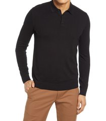 men's selected homme berg long sleeve polo sweater, size xx-large - black