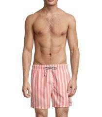 ted baker men's regular-fit stripe swim shorts - coral - size 3 (m)