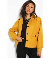 cropped wool look jacket, mustard