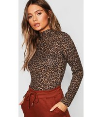 leopard print brushed knitted top, camel