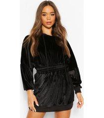 velours sweater jurk met geplooide middel en capuchon, black