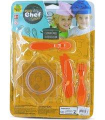 brinquedo de cozinha - mini pratos e talheres 8 peças - para meninos e meninas - samba toys
