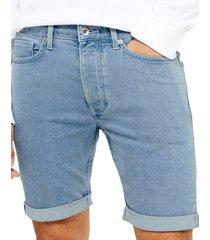 topman bleach skinny fit stretch denim shorts, size 32 in blue at nordstrom
