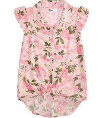 epic threads big girls floral-print tie-front top, created for macy's