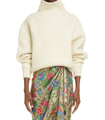 isabel marant ines funnel neck rib wool blend sweater, size 8 us in ecru 23ec at nordstrom