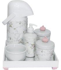 kit higiene espelho completo porcelanas, garrafa e capa coroa rosa quarto beb㪠menina - rosa - menina - dafiti