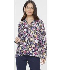 blusa viscosa manga larga cuello camisero navy flores  corona