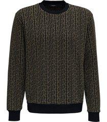 balmain cotton sweater with monogram logo