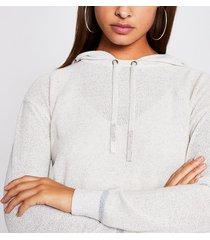 river island womens ecru knitted diamante hoodie