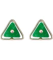 'lentille triangle' agate swarovski crystal stud earrings