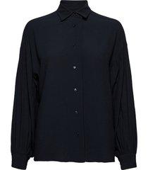 d2. drapy puff sleeve shirt overhemd met lange mouwen zwart gant