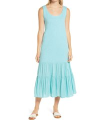 women's caslon mixed media drop waist maxi dress, size small - blue/green